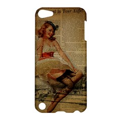 Cute Sweet Sailor Dress Vintage Newspaper Print Sexy Hot Gil Elvgren Pin Up Girl Paris Eiffel Tower Apple iPod Touch 5 Hardshell Case