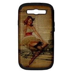 Cute Sweet Sailor Dress Vintage Newspaper Print Sexy Hot Gil Elvgren Pin Up Girl Paris Eiffel Tower Samsung Galaxy S Iii Hardshell Case (pc+silicone)