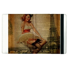 Cute Sweet Sailor Dress Vintage Newspaper Print Sexy Hot Gil Elvgren Pin Up Girl Paris Eiffel Tower Apple Ipad 3/4 Flip Case