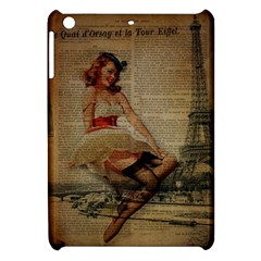 Cute Sweet Sailor Dress Vintage Newspaper Print Sexy Hot Gil Elvgren Pin Up Girl Paris Eiffel Tower Apple Ipad Mini Hardshell Case
