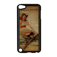 Cute Sweet Sailor Dress Vintage Newspaper Print Sexy Hot Gil Elvgren Pin Up Girl Paris Eiffel Tower Apple iPod Touch 5 Case (Black)