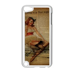 Cute Sweet Sailor Dress Vintage Newspaper Print Sexy Hot Gil Elvgren Pin Up Girl Paris Eiffel Tower Apple Ipod Touch 5 Case (white)