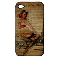Cute Sweet Sailor Dress Vintage Newspaper Print Sexy Hot Gil Elvgren Pin Up Girl Paris Eiffel Tower Apple Iphone 4/4s Hardshell Case (pc+silicone)