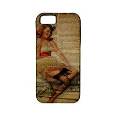 Cute Sweet Sailor Dress Vintage Newspaper Print Sexy Hot Gil Elvgren Pin Up Girl Paris Eiffel Tower Apple Iphone 5 Classic Hardshell Case (pc+silicone)