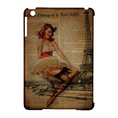 Cute Sweet Sailor Dress Vintage Newspaper Print Sexy Hot Gil Elvgren Pin Up Girl Paris Eiffel Tower Apple iPad Mini Hardshell Case (Compatible with Smart Cover)