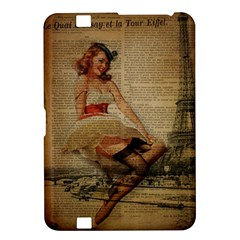 Cute Sweet Sailor Dress Vintage Newspaper Print Sexy Hot Gil Elvgren Pin Up Girl Paris Eiffel Tower Kindle Fire HD 8.9  Hardshell Case