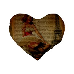 Cute Sweet Sailor Dress Vintage Newspaper Print Sexy Hot Gil Elvgren Pin Up Girl Paris Eiffel Tower 16  Premium Heart Shape Cushion