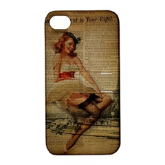 Cute Sweet Sailor Dress Vintage Newspaper Print Sexy Hot Gil Elvgren Pin Up Girl Paris Eiffel Tower Apple iPhone 4/4S Hardshell Case with Stand