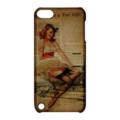Cute Sweet Sailor Dress Vintage Newspaper Print Sexy Hot Gil Elvgren Pin Up Girl Paris Eiffel Tower Apple iPod Touch 5 Hardshell Case with Stand
