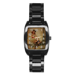 Cute Sweet Sailor Dress Vintage Newspaper Print Sexy Hot Gil Elvgren Pin Up Girl Paris Eiffel Tower Men s Stainless Steel Barrel Analog Watch