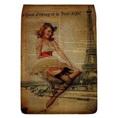Cute Sweet Sailor Dress Vintage Newspaper Print Sexy Hot Gil Elvgren Pin Up Girl Paris Eiffel Tower Removable Flap Cover (Large)