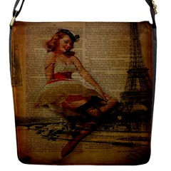 Cute Sweet Sailor Dress Vintage Newspaper Print Sexy Hot Gil Elvgren Pin Up Girl Paris Eiffel Tower Flap Closure Messenger Bag (small)