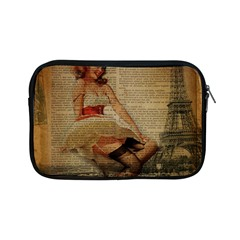 Cute Sweet Sailor Dress Vintage Newspaper Print Sexy Hot Gil Elvgren Pin Up Girl Paris Eiffel Tower Apple iPad Mini Zipper Case