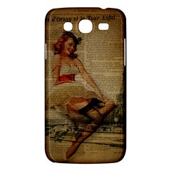 Cute Sweet Sailor Dress Vintage Newspaper Print Sexy Hot Gil Elvgren Pin Up Girl Paris Eiffel Tower Samsung Galaxy Mega 5.8 I9152 Hardshell Case