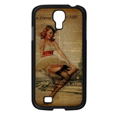 Cute Sweet Sailor Dress Vintage Newspaper Print Sexy Hot Gil Elvgren Pin Up Girl Paris Eiffel Tower Samsung GALAXY S4 I9500/ I9505 (Black)