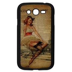 Cute Sweet Sailor Dress Vintage Newspaper Print Sexy Hot Gil Elvgren Pin Up Girl Paris Eiffel Tower Samsung I9082(galaxy Grand Duos)(black)
