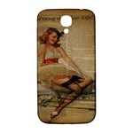Cute Sweet Sailor Dress Vintage Newspaper Print Sexy Hot Gil Elvgren Pin Up Girl Paris Eiffel Tower Samsung Galaxy S4 I9500/I9505  Hardshell Back Case Front