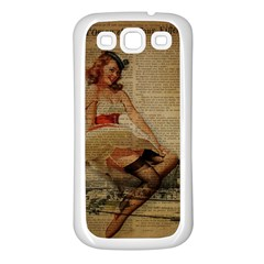 Cute Sweet Sailor Dress Vintage Newspaper Print Sexy Hot Gil Elvgren Pin Up Girl Paris Eiffel Tower Samsung Galaxy S3 Back Case (White)