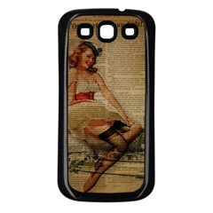 Cute Sweet Sailor Dress Vintage Newspaper Print Sexy Hot Gil Elvgren Pin Up Girl Paris Eiffel Tower Samsung Galaxy S3 Back Case (Black)