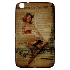 Cute Sweet Sailor Dress Vintage Newspaper Print Sexy Hot Gil Elvgren Pin Up Girl Paris Eiffel Tower Samsung Galaxy Tab 3 (8 ) T3100 Hardshell Case