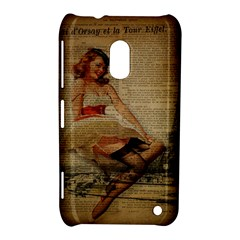 Cute Sweet Sailor Dress Vintage Newspaper Print Sexy Hot Gil Elvgren Pin Up Girl Paris Eiffel Tower Nokia Lumia 620 Hardshell Case