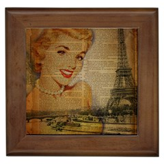 Yellow Dress Blonde Beauty   Framed Ceramic Tile