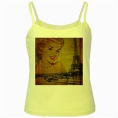Yellow Dress Blonde Beauty   Yellow Spaghetti Tank