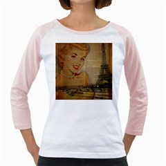 Yellow Dress Blonde Beauty   Womens  Long Sleeve Raglan T Shirt (white)