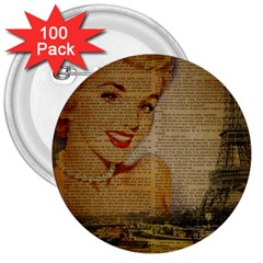 Yellow Dress Blonde Beauty   3  Button (100 pack)