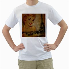 Yellow Dress Blonde Beauty   Mens  T Shirt (white)