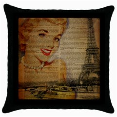 Yellow Dress Blonde Beauty   Black Throw Pillow Case
