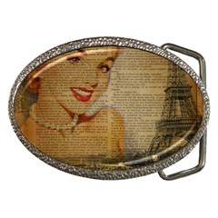Yellow Dress Blonde Beauty   Belt Buckle (oval)