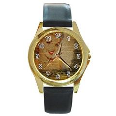 Yellow Dress Blonde Beauty   Round Metal Watch (Gold Rim)