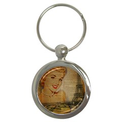Yellow Dress Blonde Beauty   Key Chain (Round)