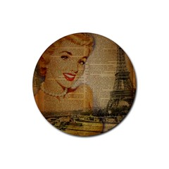 Yellow Dress Blonde Beauty   Drink Coasters 4 Pack (round)