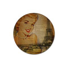 Yellow Dress Blonde Beauty   Magnet 3  (round)
