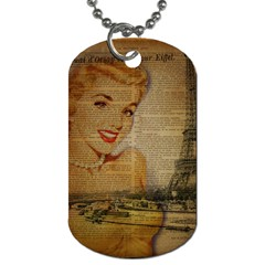 Yellow Dress Blonde Beauty   Dog Tag (One Sided)