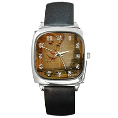 Yellow Dress Blonde Beauty   Square Leather Watch