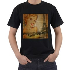 Yellow Dress Blonde Beauty   Mens' Two Sided T-shirt (Black)