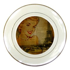 Yellow Dress Blonde Beauty   Porcelain Display Plate