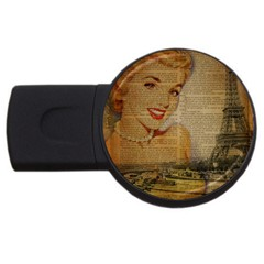 Yellow Dress Blonde Beauty   4gb Usb Flash Drive (round)