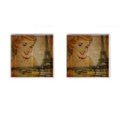 Yellow Dress Blonde Beauty   Cufflinks (Square)