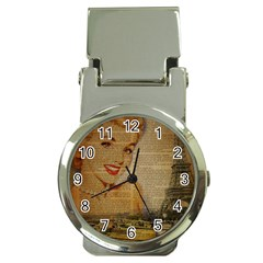Yellow Dress Blonde Beauty   Money Clip with Watch