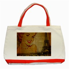 Yellow Dress Blonde Beauty   Classic Tote Bag (Red)