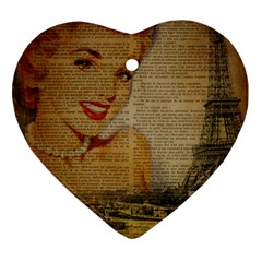 Yellow Dress Blonde Beauty   Heart Ornament (Two Sides)