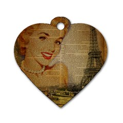 Yellow Dress Blonde Beauty   Dog Tag Heart (two Sided)
