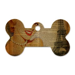 Yellow Dress Blonde Beauty   Dog Tag Bone (two Sided)