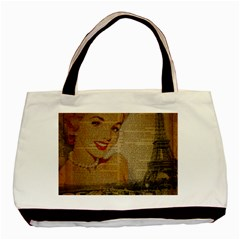 Yellow Dress Blonde Beauty   Twin-sided Black Tote Bag