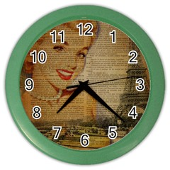 Yellow Dress Blonde Beauty   Wall Clock (Color)