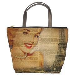 Yellow Dress Blonde Beauty   Bucket Bag